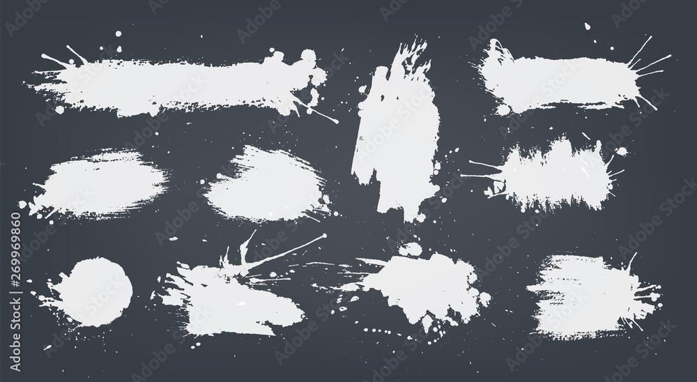 Fototapety, obrazy: set white ink spots set on black background.