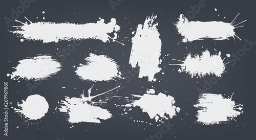 Obraz set white ink spots set on black background. - fototapety do salonu