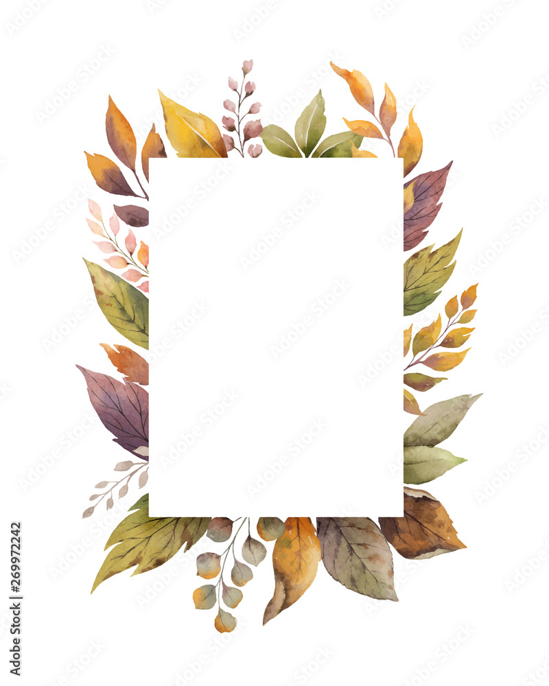 Fototapety, obrazy: Watercolor vector autumn frame with roses and leaves isolated on white background.