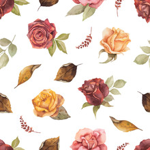 Watercolor Vector Autumn Seamless Pattern With Roses And Leaves Isolated On White Background.