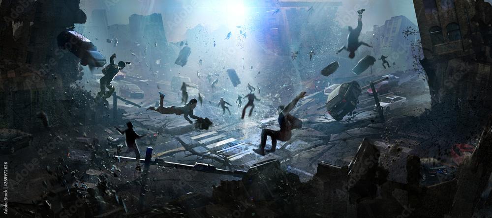 Fototapeta The doomsday scene of a catastrophe, digital illustration.