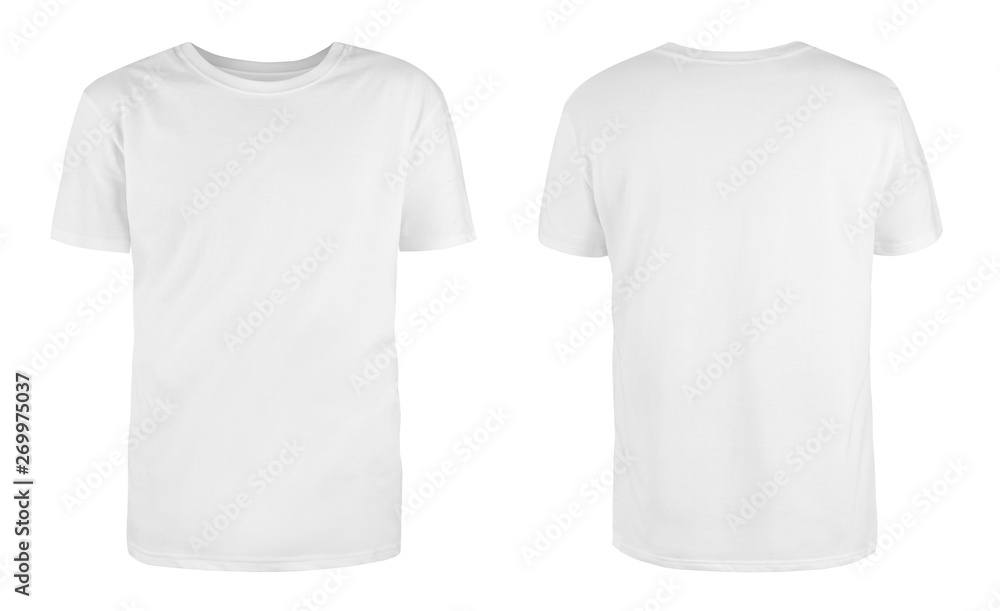Fototapety, obrazy: Men's white blank T-shirt template,from two sides, natural shape on invisible mannequin, for your design mockup for print, isolated on white background..