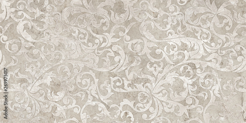 Tuinposter Retro vintage background with floral damask pattern