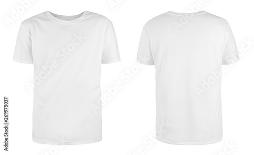 Fotografía Men's white blank T-shirt template,from two sides, natural shape on invisible mannequin, for your design mockup for print, isolated on white background