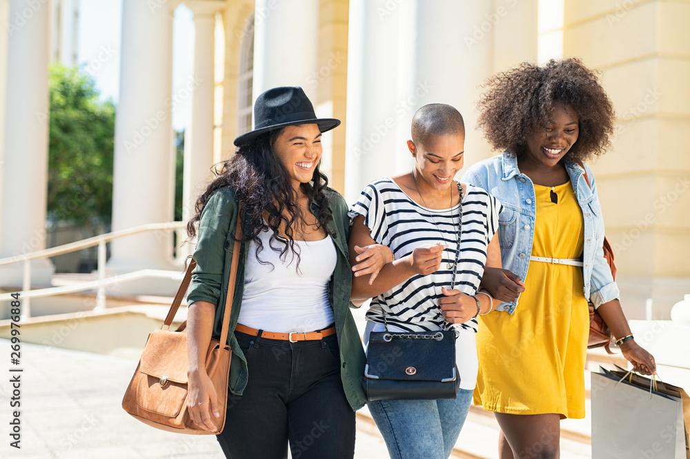 Fototapety, obrazy: Happy girls friends walking outdoor