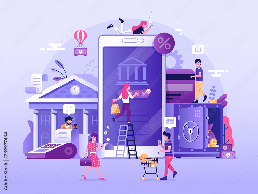 Fototapeta Mobile banking and finance management UI illustration. Office people characters using smartphone for internet mobile payments, transfers and deposits. Digital bank service fintech concept in flat.