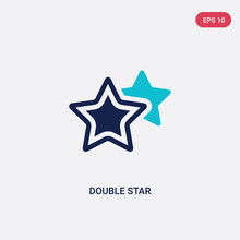 Two Color Double Star Vector Icon From Astronomy Concept. Isolated Blue Double Star Vector Sign Symbol Can Be Use For Web, Mobile And Logo. Eps 10