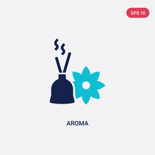 Two Color Aroma Vector Icon From Beauty Concept. Isolated Blue Aroma Vector Sign Symbol Can Be Use For Web, Mobile And Logo. Eps 10