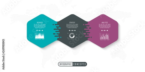 Canvas Print Vector infographics template for chart, diagram, web design, presentation, workflow layout