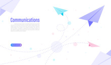 Communications Of Business With Paper Plane Concept . Web Design. Vector Illustration