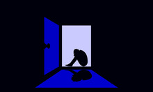 Sad Man Silhouette Color Vector Illustration.