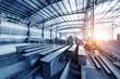 Leinwandbild Motiv Steel factory stacked steel