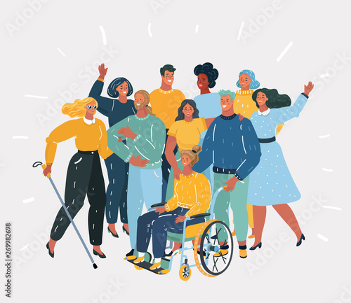 Disabled people and they friends. Wall mural