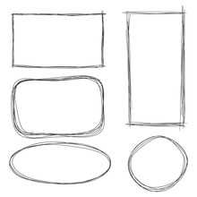 Vector Set Of Dirty Sketch Abstract Doodle Frames.