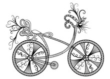Silhouette Vintage Bicycle On White Background. Vector. EPS 10