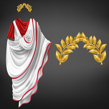 Ancient White Toga On Red Tuni...