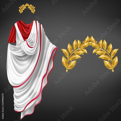 Fotografía Ancient white toga on red tunic and golden laurel wreath 3d realistic vector isolated on black background