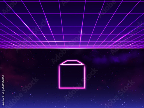 Synthwave neon grid futuristic background with folder icon in space, retro sci-fi 80s 90s Wallpaper Mural