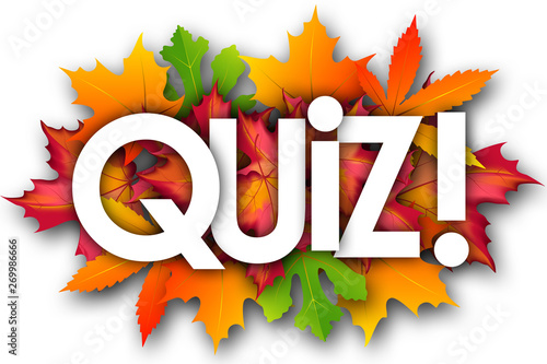 quiz word and autumn leaves background - Buy this stock illustration