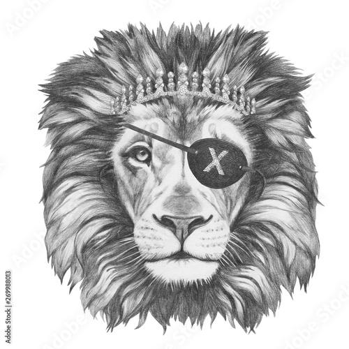 Photo sur Toile Croquis dessinés à la main des animaux Portrait of Lion with diadem and eye patch. Hand-drawn illustration.