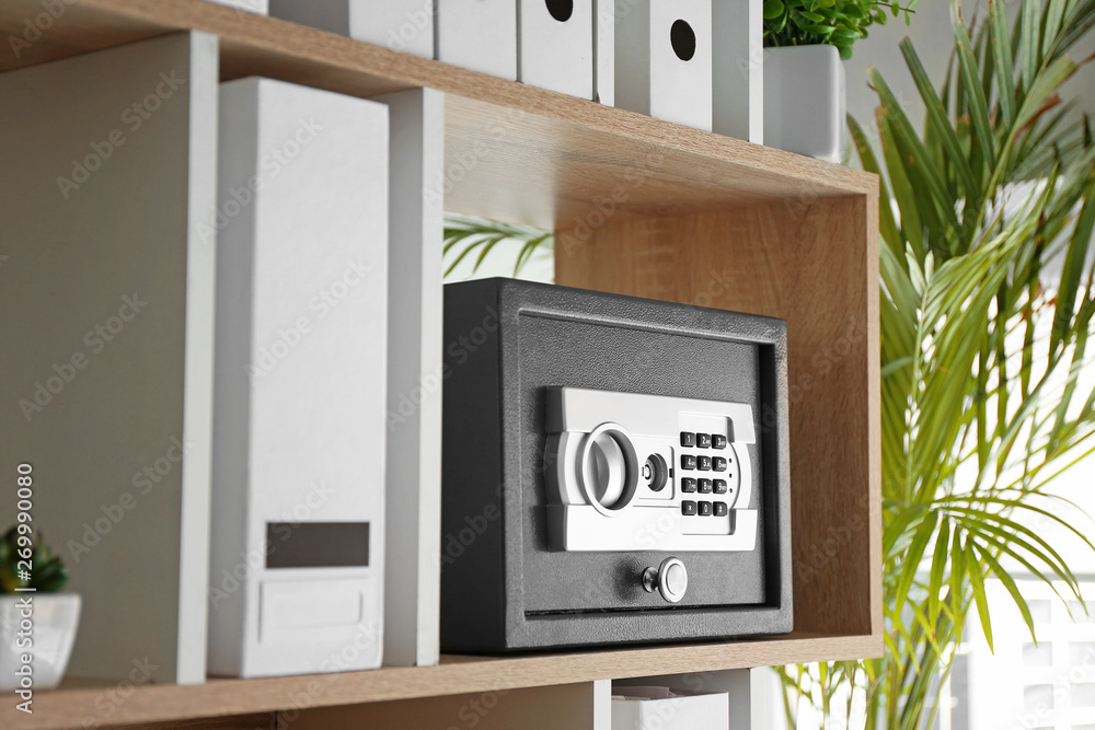 Fototapety, obrazy: Modern safe on shelf in office