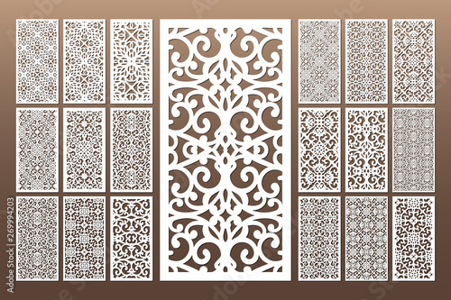 Obraz Laser cut cabinet fretwork perforated panel in arabic style. Ornamental panels template set for cutting exterior, rate 1;2. Metal, paper or wood carving. Outdoor screen. - fototapety do salonu