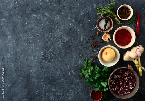 Stickers pour porte The Food menu. Cooking table with group food. Vegetables, spices and herbs top view