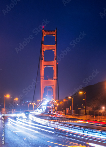 Evening traffic and Golden Gate
