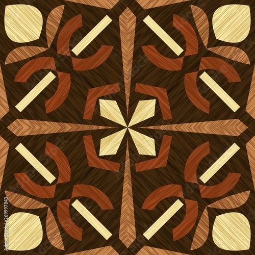 Платно Wood inlay tile, wooden textured patterns, geometric decorative ornament in ligh