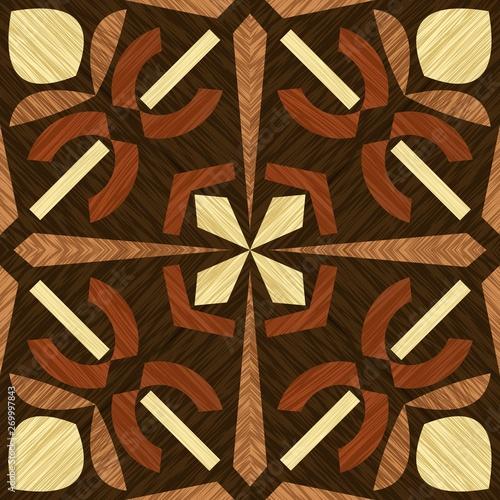 Vászonkép Wood inlay tile, wooden textured patterns, geometric decorative ornament in ligh