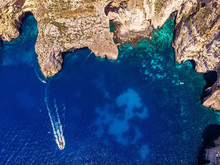 Blue Grotto In Malta. Aerial Top View