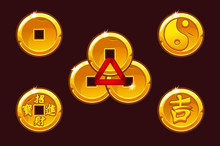 China Coins Set. Vector Golden Coin In-yan. Objects On Separate Layers.
