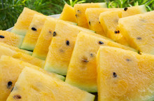 Close Up Of Yellow Watermelon ...