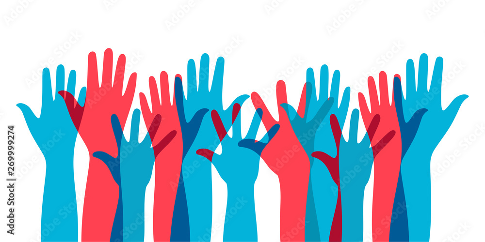 Fototapety, obrazy: illustration of social interaction group activities by raising hands as a sign of expressing opinions in politics