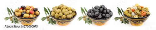 Fond de hotte en verre imprimé Oliviers Mélanges d'olives