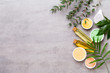 Leinwandbild Motiv Beauty and aromatherapy concept with spa set on pastel rustic wooden background.