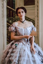 19th Century Lady In Violet Crinoline