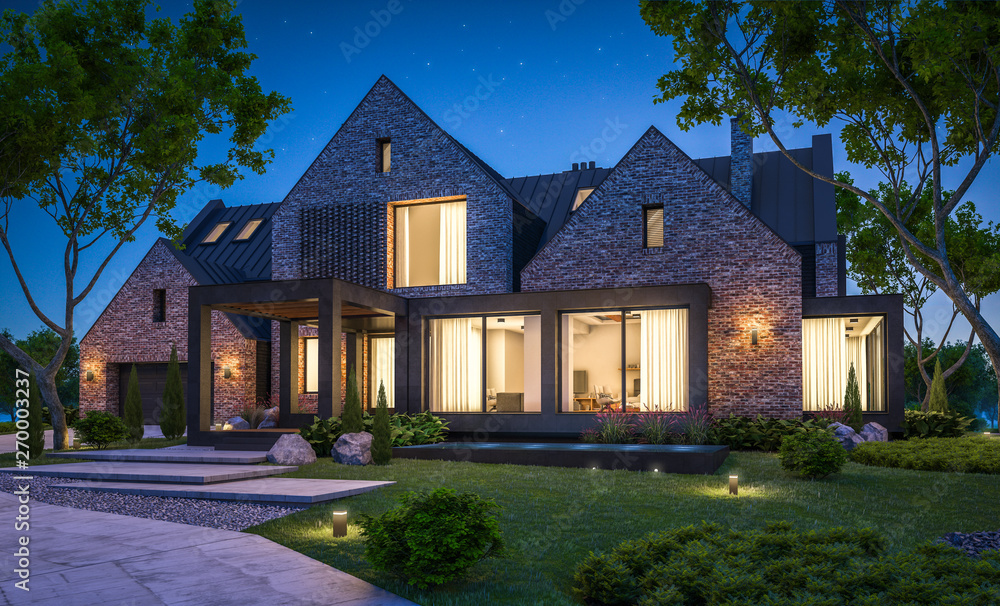Fototapety, obrazy: 3d rendering of modern cozy clinker house on the ponds with garage and pool for sale or rent with beautiful landscaping on background. Clear summer night with many stars on the sky.