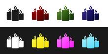 Set Burning Candles Icon Isola...