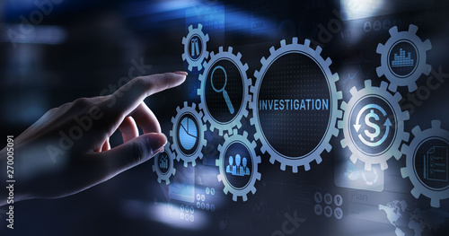 Foto  Investigation inspection audit business concept on virtual screen