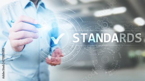 Foto auf Leinwand Texturen Standard. Quality control. ISO certification, assurance and guarantee. Internet business technology concept.