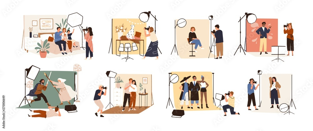 Fototapety, obrazy: Collection of male and female photographers working at photographic studio and photographing various models during photo session - dog, family, couple, celebrity. Flat cartoon vector illustration.