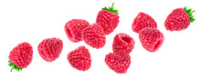 Raspberry Isolated On White Background, Falling Raspberries, Collection
