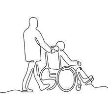 Man Pushing Wheelchair With Disabled Person