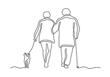 Elderly Couple Walking With Dog Continuous Line Vector Illustration