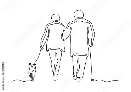 Obraz Elderly couple walking with dog continuous line vector illustration - fototapety do salonu
