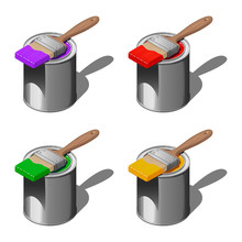 Set Of Four Cans Of Colored Oil Paint With A Paint Brush At The Top, Isometric Isolated Vector Drawing On A White Background