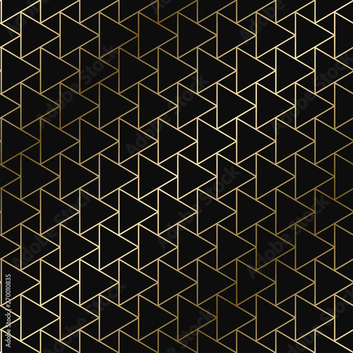 Fototapeta Vector geometric art deco pattern - seamless luxury gold gradient design. Rich endless ornamental background obraz