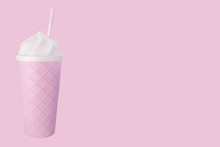 Minimal Composition Of Pink Cocktail Cup On Pink Backround. Copy Space.Summerr Concept