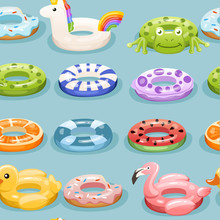 Seamless Pattern. Swim Rings Set. Inflatable Rubber Toy. Swimming Circles With Different Textures And Shapes. Flat Vector Illustration On Blue Background